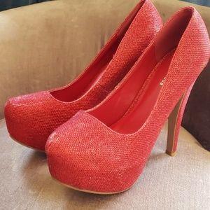 Ruby red platform heels